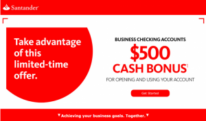 $125-$500 Santander Checking, Savings, Business Promotions