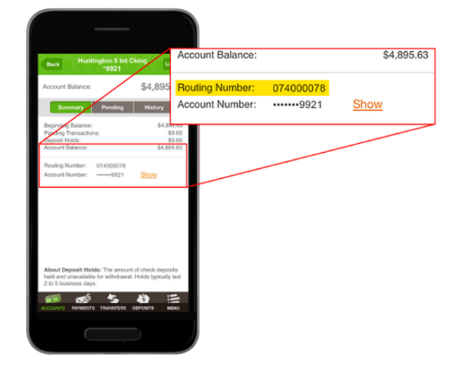 Huntington Bank Routing Number Mobile App - Bank Deal Guy