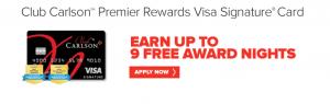 Club Carlson Premier Rewards Visa Signature 85,000 Card Bonus + 40,000 Renewal Points Annually