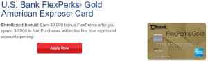 US Bank FlexPerks Gold American Express Card 30,000 Bonus FlexPoints + 3X FlexPoints Spent at Restaurants
