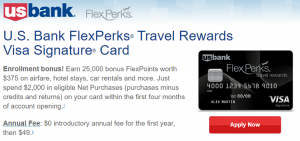US Bank FlexPerks Travel Rewards Visa Signature Card 25,000 Bonus FlexPoints + 2X Points on Airlines and Gas and Grocery Stores + Annual Fee Waived First Year