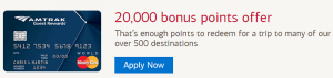 Amtrak Guest Rewards World Credit Card 20,000 Bonus Points + Complimentary Companion Coupon