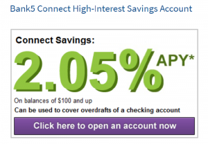 Bank5 Connect High-Interest Savings Account: Earn 2.05% APY Rate [Nationwide]