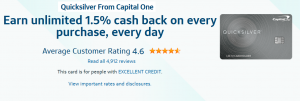 Capital One Quicksilver Credit Card $150 Cash Bonus + Unlimited 1.5% Cash Back on Every Purchase