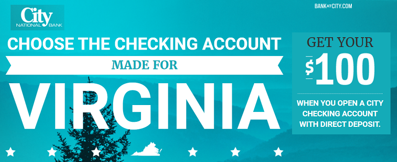 City National Bank $100 Checking Bonus [VA]