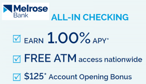 Melrose Bank $125 Checking Bonus + 1.00% APY [MA]