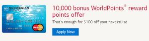 Norwegian Cruise Line World Mastercard 10,000 Bonus WorldPoints + No Annual Fee