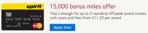 Spirit Airlines World Mastercard 15,000 Bonus Miles + 5,000 Anniversary Bonus Free Spirit Miles