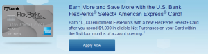 U.S. Bank FlexPerks Select+ American Express Card 10,000 Bonus FlexPoints + No Annual Fee
