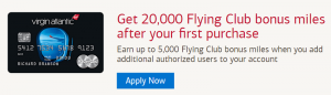 Virgin Atlantic World Elite Mastercard 20,000 Flying Club Bonus Miles + Up to 15,000 Flying Club Bonus Miles Every Anniversary