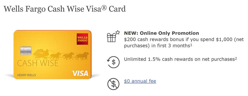 Wells fargo cash wise visa card 200 cash rewards bonus for Wells fargo business credit card rewards