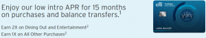 Citi ThankYou Preferred Card Review: 0% Intro APR For 15 Months on Purchases and Balance Transfers + 2X ThankYou Points On Dining and Entertainment + No Annual Fee