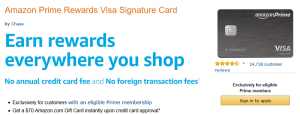 Amazon Prime Rewards Visa Signature $70 Gift Card Bonus + Up To 5% Cash Back