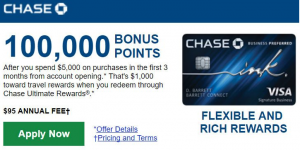 Chase Ink Business Preferred Card 100,000 Points Promotion [In-Branch]