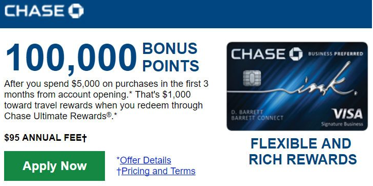 Chase ink business preferred card 100000 points promotion 3 at the moment chase ink business preferred card is offering a sign up promotion of 100000 points after you spend 5000 on purchases within the first colourmoves
