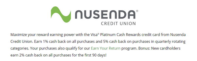 Nusenda Credit Union Platinum Cash Rewards Card