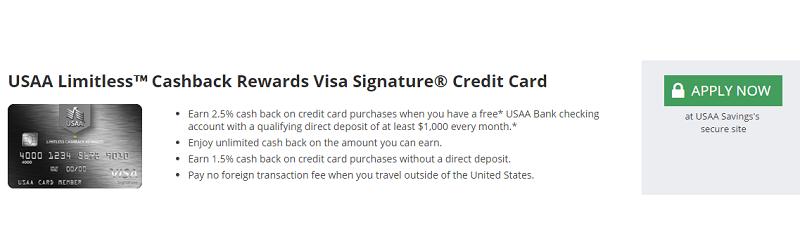 usaa limitless cashback rewards visa signature card review 2 5 cash back on every purchase. Black Bedroom Furniture Sets. Home Design Ideas