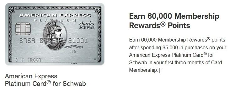 American Express Platinum Card For Schwab 60 000 Points
