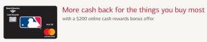 MLB Cash Rewards MasterCard $200 Cash Rewards Bonus + Up to 3% Cash Back