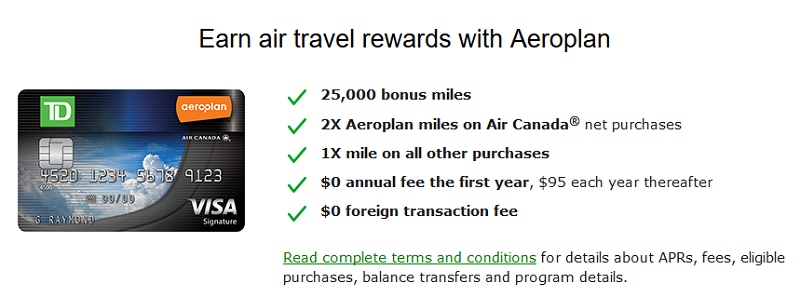 Td Aeroplan Visa Signature Credit Card 25000 Miles Bonus 0