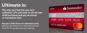 Santander Ultimate Cash Back Credit Card $100 Statement Credit Bonus + 1.5% Unlimited Cash Back + No Annual Fee