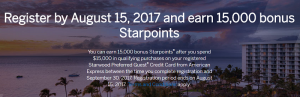 Starwood Preferred Guest Card from American Express Up To 15,000 Starpoints Offer (Targeted)