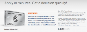 Business Platinum Card from American Express 75,000 Points Offer + 5X Points on Flights and Hotels (YMMV)