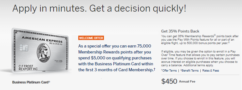 Business platinum card from american express 75000 points offer the business platinum card from american express has been giving different offers recently this offer is not available to everyone but if you qualify colourmoves