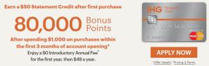 Chase IHG Rewards Club Select Credit Card 80,000 Bonus Offer + 5,000 Bonus Points When Adding Your First Authorized User + Platinum Elite Travel Benefits + $50 Statement Credit