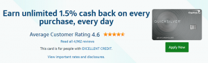 Capital One Quicksilver Cash Rewards Credit Card $150 Cash Offer + Unlimited 1.5% Cash Back on Every Purchase + No Annual Fee