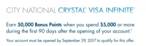 City National Bank Crystal Visa Infinite Card 50,000 Points Bonus + Annual Fee Waived First Year [CA, GA, NV, NY, TN, TX] (YMMV)