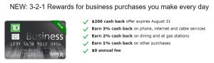 TD Business Solutions Credit Card $200 Cash Back Bonus + Up to 3% Cash Back + No Annual Fee