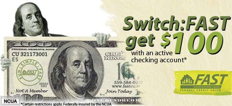 Fast Federal Credit Union $100 Checking Bonus [CA]