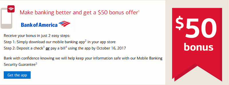 Bank of America Mobile Banking App Offer
