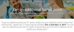 Chase Digital Payments Offer: Get An Additional Bonus Point When You Use Your Eligible Chase Sapphire Card in Chase/Android/Apple Pay/Samsung Pay
