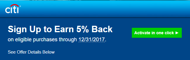 Citi ThankYou Cardholders Offer: Earn 5% Back As Statement Credit On Eligible Purchases