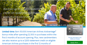 CitiBusiness AAdvantage Platinum Select World Mastercard 50,000 AAdvantage Miles Deal + $200 Statement Credit + No Annual Fee