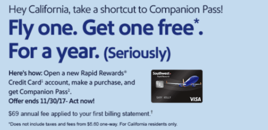 Chase Southwest Card 40,000 Points Bonus + Companion Pass After One Purchase (Targeted, California Only)