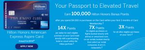 AmEx Hilton Aspire Credit Card 100,000 Bonus Points + 14X Hilton Honors Bonus Points at Hotels and Resorts + 7X Hilton Honors Bonus Points on Flights
