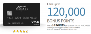 Chase Marriott Premier Credit Card 120,000 Point Bonus + 5X Points at Select Locations + Annual Fee Waived First Year