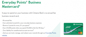 Everyday Points Business Mastercard + 25,000 Points Bonus + 2X Points on Every Day Purchases + No Annual Fee