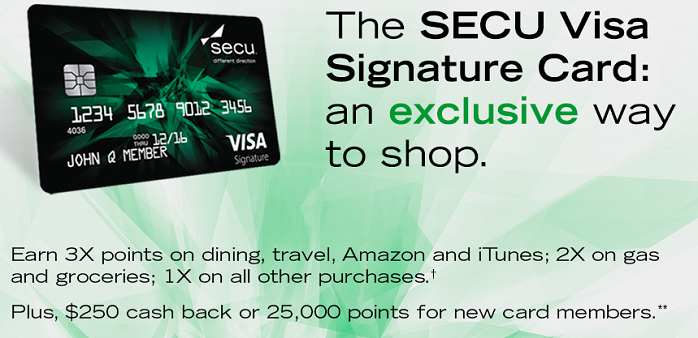 the secu visa signature credit card is now offering cardholders a sign up bonus of 25000 bonus points after you spend 2000 in qualifying purchases within - Visa Signature Credit Card