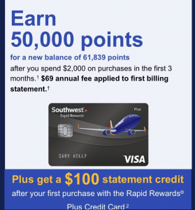 receive a sign up bonus of 50000 bonus points and 100 statement credit after 2000 spent within the first three months on the chase southwest plus card - Southwest Visa Card