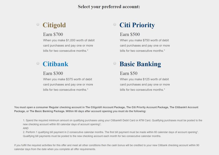 Citibank Bank Promotions 100 300 500 700 Checking Savings