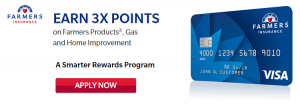 Farmers Rewards Visa Card 3,000 Bonus Points + 3X Points Back on Farmers Products and Gas and Home Improvement + No Annual Fee