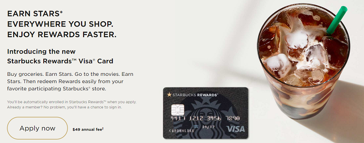 Starbucks Rewards Visa Card 2,500 Bonus Stars + 3X Stars on Starbucks Purchases + Automatic Gold Status