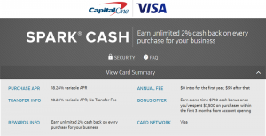 Capital One Spark Cash Visa Card for Business $750 Bonus + 2% Cash Back On All Purchases + No Annual Fee First Year