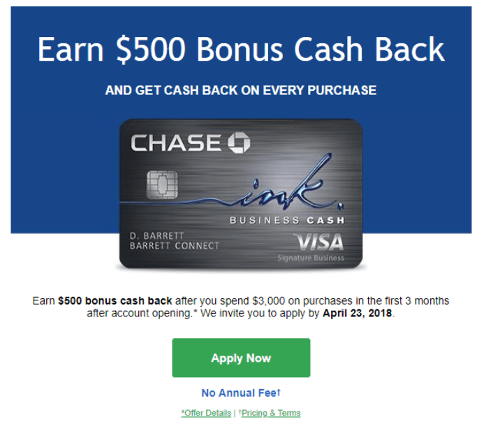 Chase ink business cash card 500 deal chase ink business cash credit card if you are interested in this card apply today keep in mind that this is a targeted offer so check your email to colourmoves