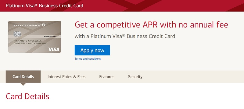 Platinum Business Credit Card Bank of America