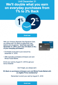 Chase Amazon Cardholder Bonus:  Earn 2% Cashback Everywhere until End of the Year (Targeted)